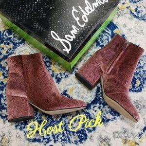 26276a6431d0 Sam Edelman Shoes - Sam Edelman Taye Textured Velvet Bootie Mauve 9